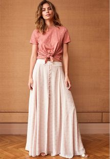 Blush gold-dotted button front maxi skirt - JUNE NUDE