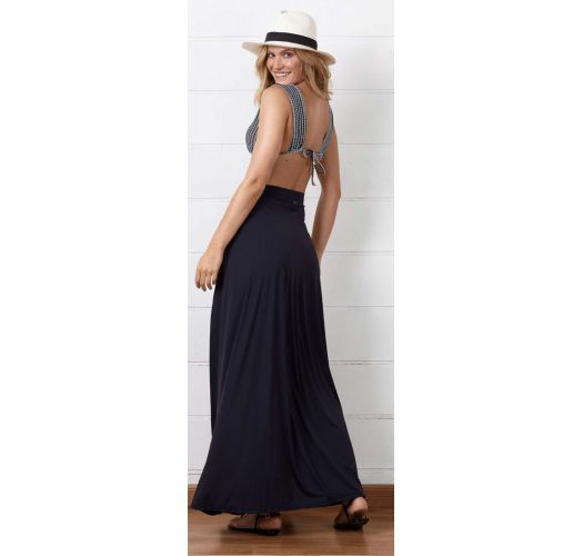Long slit black beach skirt - SAIA LA SIRENUSE PRETO