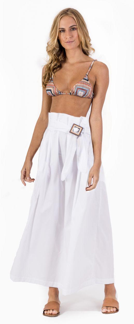 Long high-waisted white beach skirt - SAIA WHITE WOOD