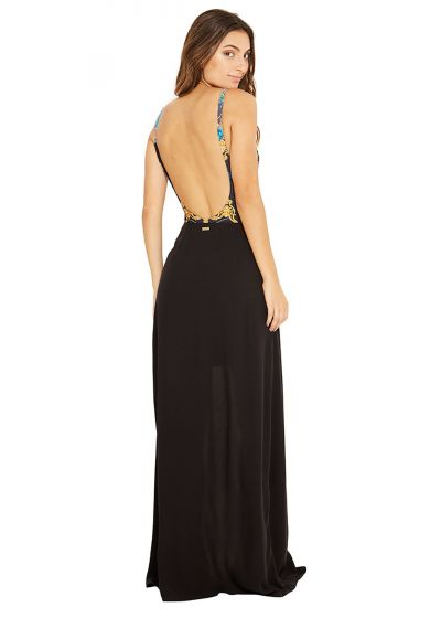 Длинная пляжная черная юбка с разрезом сбоку - CLEA PRETO