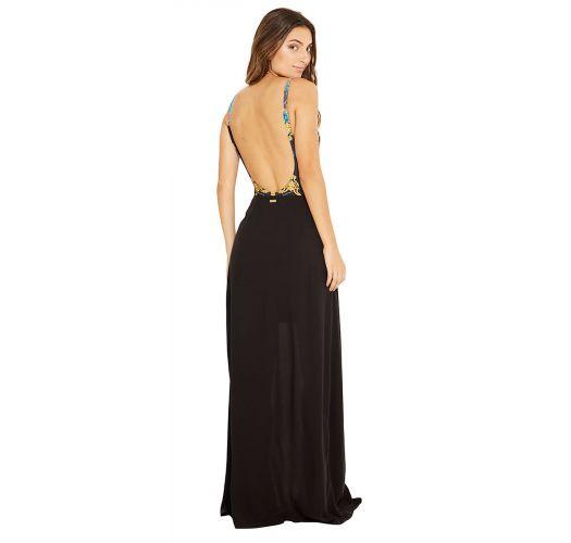 Vestido de playa largo negro con corte lateral - CLEA PRETO