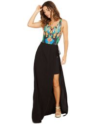 Long black beach skirt with side cut out - CLEA PRETO