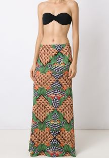 Long beach dress in mixed print - FLOW TRIBO