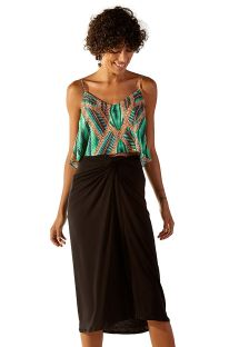 Black straight midi beach skirt - JUNO PRETO
