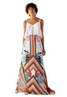 Tropical striped long stretch beach skirt - LARISSA PALMAR
