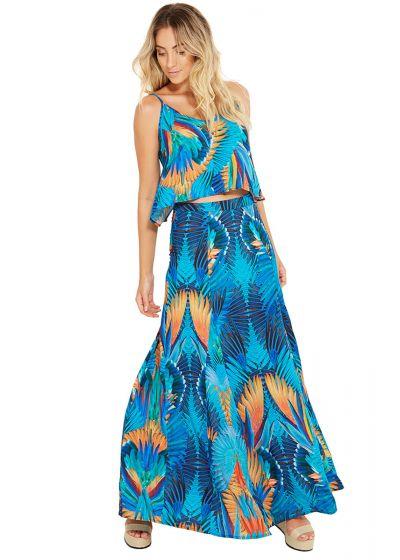 Lång mångfärgad tropiskt tryckt klänning - LIA ARARUNA