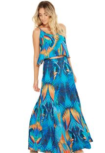 Long multicolored tropical printed skirt - LIA ARARUNA