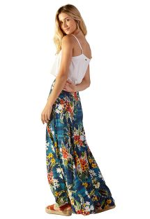 Long blue beach skirt with flowers - LIA ARTA