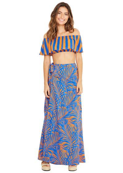 Blue and orange long beach dress - MAMBO CAYENA