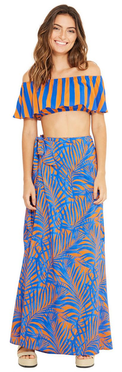 Blå och orange lång strandklänning - MAMBO CAYENA