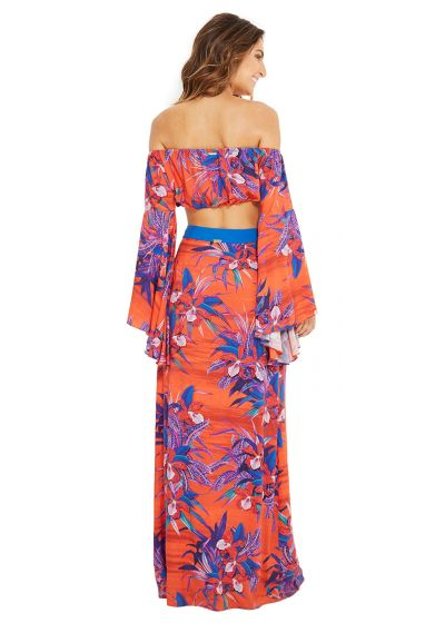 Mörkorange kjol med blommor - SAIA CLAIR NOTURNELLA