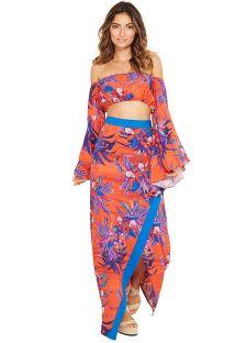 Dark orange wallet skirt with flowers - SAIA CLAIR NOTURNELLA