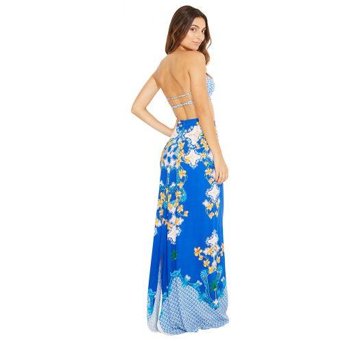 Lange strandrok met blauwe bloemenprint - SAIA MENA ABACAXICA
