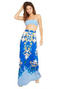 Falda larga de playa con estampado floral azul - SAIA MENA ABACAXICA