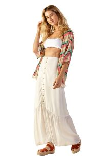 Buttoned ecru long beach skirt - TALIA BRANCO