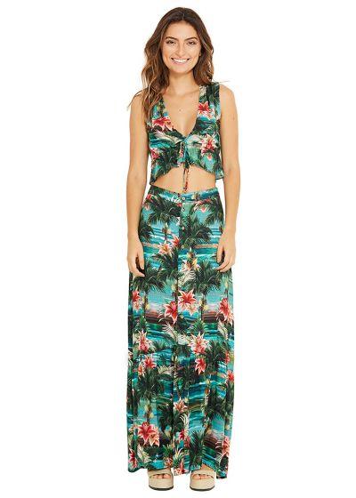 Long beach skirt in tropical print - TALIA ISLA
