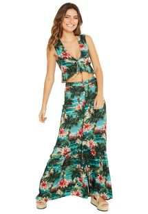 Langes Strandkleid, Tropical Print - TALIA ISLA