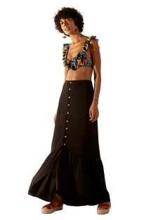 Buttoned black long beach skirt - TALIA PRETO