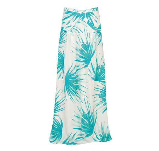 Silk beach skirt with pockets, tropical pattern - PALMA OCEANO