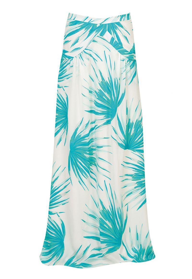 Silkes strandkjol med tropiskt tryck och fickor - PALMA OCEANO