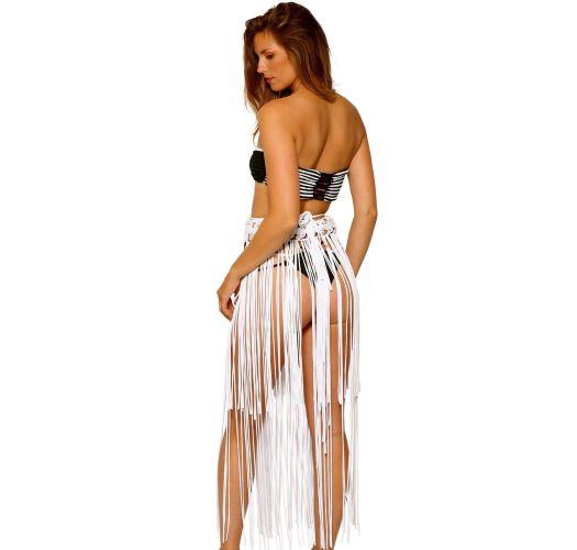 Multi-position white macrame beach skirt with fringes - ADELE FRINGE SKIRT WHITE
