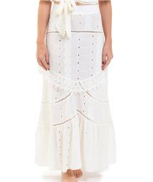 Long white beach skirt with embroidery - BOTTOM ISADORA WHITE OFF