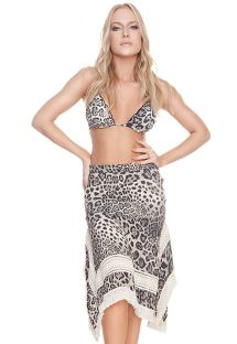 Luxurious black leopard print beach dress - SQ SKIRT CHEETAH BLACK