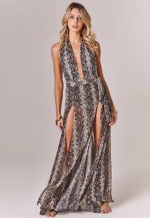 Long luxury reptile print skirt with a split - SAIA FENDAS REPTILE