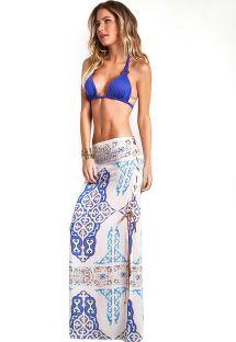 Strandnederdel med blåt orientalsk mønster og snørebånd i siden - SKIRT INDIAH
