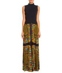Long multicolored printed beach skirt - LENCO RICA