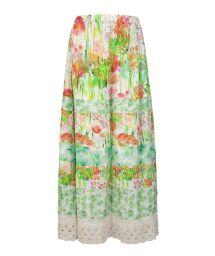 Long flowered skirt with crocheted yoke - LOMG DRESS
