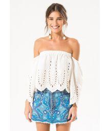 Mini skirt in embroidered denim, frayed edges - MINI SKIRT
