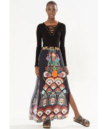 Split maxi skirt, black with ethnic motif - SAIA ABERTURA PRAIA GRANDE