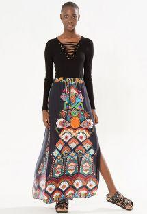 Jupe longue fendue noire, motif ethnique - SAIA ABERTURA PRAIA GRANDE