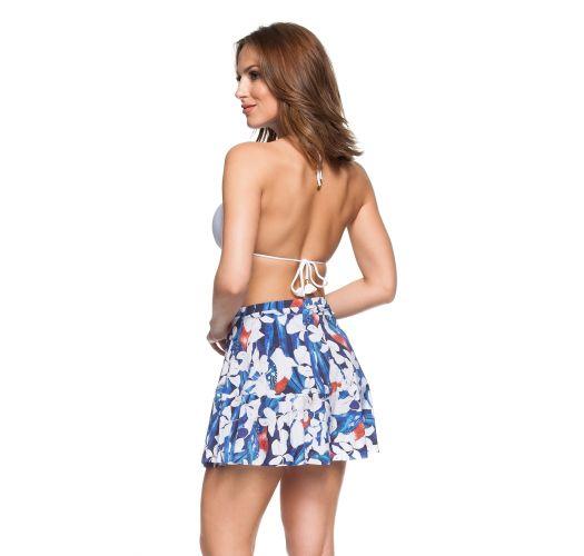 Пляжная юбка-солнце в цветочный принт синего/белого цвета - SAIA CHARMOSA