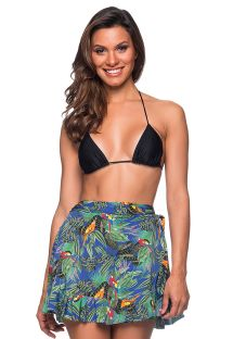 Beach skirt in colorful tropical print - TRANSPASSADA ARARA AZUL