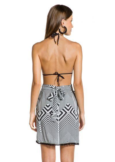 Geometric beach skirt with pompons - PAREO ZEBRA