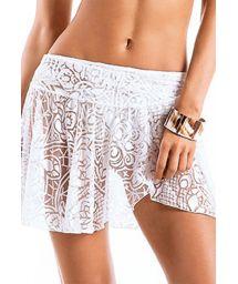 White beach skirt with floral openwork pattern - JARDIM ARMAÇAO