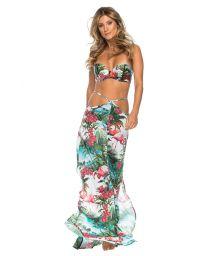 Long beach skirt with flamingo pattern - SAIA CARIBE
