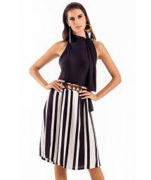 A beach skirt with black and white stripes - SAIA MIDI