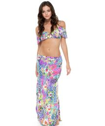 Long slit beach skirt with amulticoloured print - BRUNCHIN SKIRT