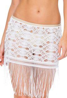 White fringed openwork beach skirt - SAIA LINDA