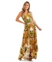 Long beach skirt in palm tree leaves print - VESTIDO PALMEIRA TEXTURIZADA