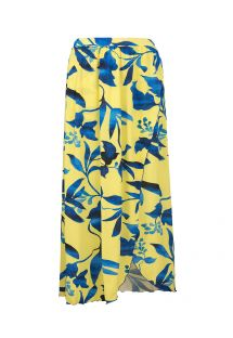 Yellow and blue print long beach skirt - SAIA LONGA LEMON FLOWER