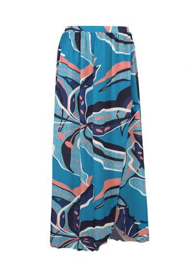 Long blue & pink printed beach skirt - SAIA LONGA LILLY