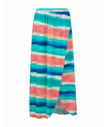Coral and blue print long beach skirt - SAIA LONGA UPBEAT