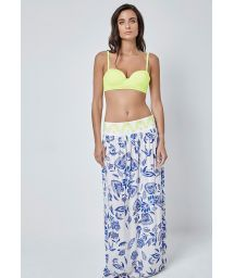 Long printed skirt with contrasting waistband - LOTUS LONGO