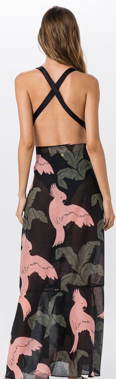 Strandkjol med papegoj-mönster - MAXI CACATUA