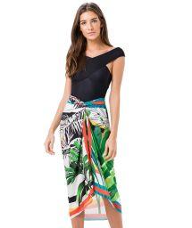 Colourful print pareo style skirt with palm trees - SAIA CANGA PALMEIRA