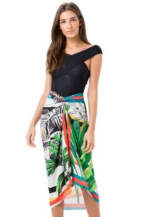 Colourful print pareo style skirt with palm trees - SAIA CANGA PALMEIRA